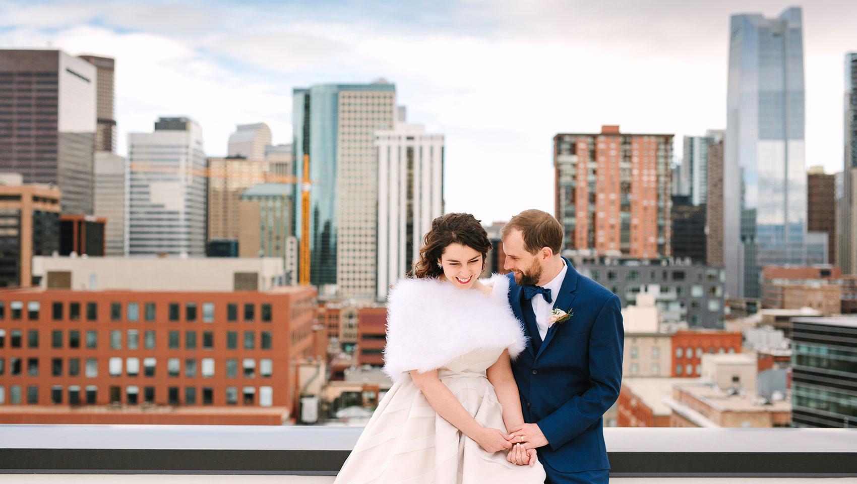 Grays Rooftop Photo as Newlyweds