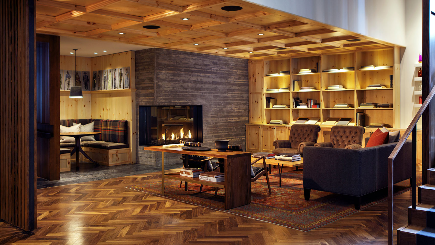 Hotel Born Denver lounge fireplace